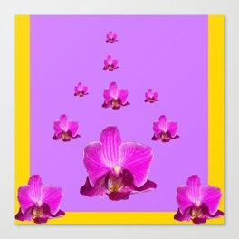 PURPLE ORCHID FLOWERS RAIN YELLOW ART Canvas Print