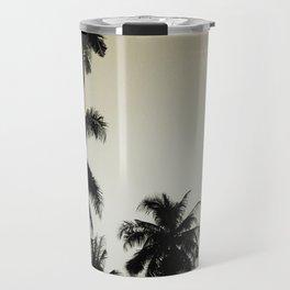 Tropical palm trees on yellow Travel Mug