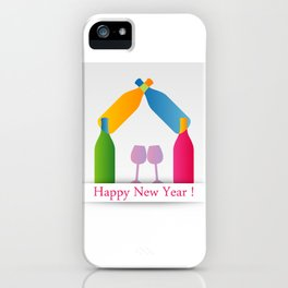 New year greetings with House formed with many colorful bottles and glasses iPhone Case