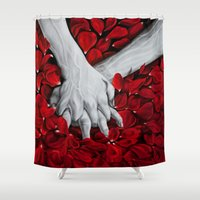 hands Shower Curtains featuring Hands by MARIA BOZINA - PRINT