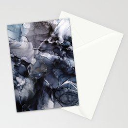 Dark Moody Chaos and Blue Abstract Painting Stationery Cards