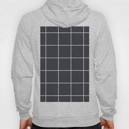 Minimal grid pattern on dark lava Hoody