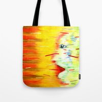 panic at the disco Tote Bags featuring Panic by Lou Patrou