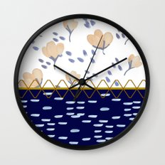 Stitched poppies Wall Clock