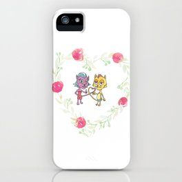 Cool Cats in Wreath-Pink Flowers iPhone Case