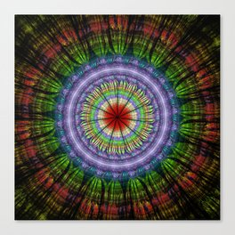 Groovy painterly mandala with tribal patterns Canvas Print