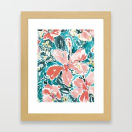 HELLO HIBISCUS - CORAL Framed Art Print