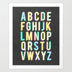 Alphabet (Black) Art Print