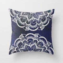 White Feather Mandala on Navy Throw Pillow