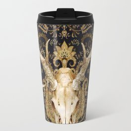 Deer Skull and Gold Paisley Travel Mug