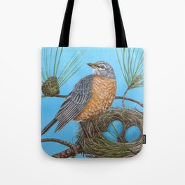 Robin with nest in Georgia pine tree Tote Bag