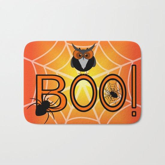 Boo, says the owl. It's Halloween! Bath Mat