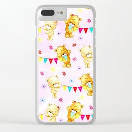 yellow and pink little teddies Clear iPhone Case