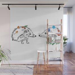 Hedgehogs Meeting Wall Mural