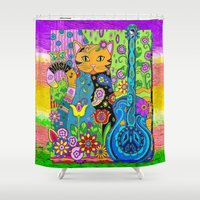 hippy Shower Curtains featuring Hippy Puss by SwanniePhotoArt