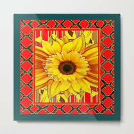 TEAL-RED & YELLOW SUNFLOWER DECO FLORAL Metal Print