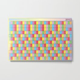Annual Planner 2013 with specific colors for each day of the week Metal Print