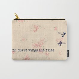 She Flies - Beautiful Typography Feminine Bird photography by Ingrid Beddoes Carry-All Pouch