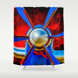 Blue propeller Shower Curtain