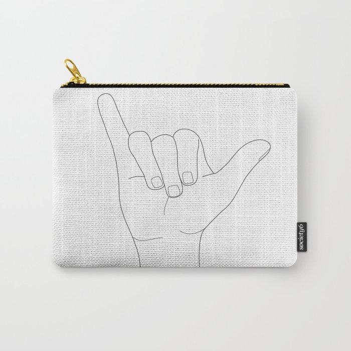 Minimal Line Art Shaka Hand Gesture Carry-All Pouch