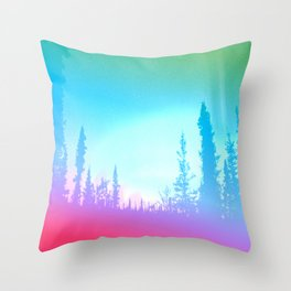 Bright Colorful Forest Throw Pillow