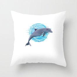 Dolphin Aquatic Aquamarine Ocean Sea Marine Life Carnivore Gift Throw Pillow