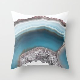 Deep Blue Agate with Amethyst Throw Pillow