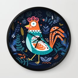 Blue Chicken Roster And The Flowers Wall Clock