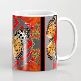 ORANGE-RED POPPY TIGER BUTTERFLIES Coffee Mug
