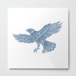 Crow Flying Mandala Metal Print