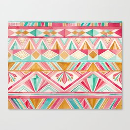 Spring Gems // Pink Gold and Turquoise Geometric Pattern Canvas Print