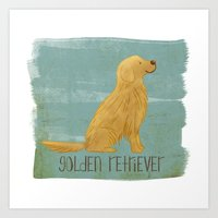 golden retriever Art Prints featuring Golden Retriever by 52 Dogs