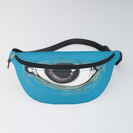 """I See You"" Blue Pattern Fanny Pack"