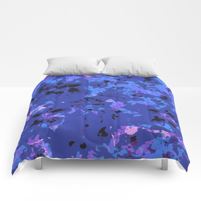 Shabby Chic Blue Floral Abstract Comforters