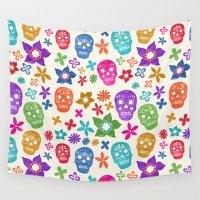 sugar skulls Wall Tapestries featuring Sugar Skulls by Emmyrolland