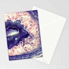 Pale Pink Indigo Teal Quartz Crystal Stationery Cards