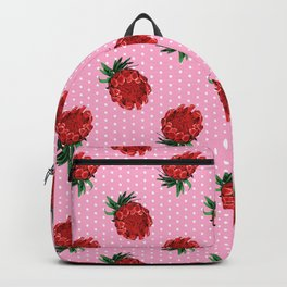 Beautiful Protea Pattern - White Polka Dots on Pink Background - Australian Native Flowers Backpack