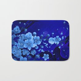 Cherry blossom, blue colors Bath Mat