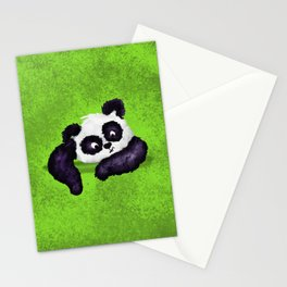 Cute Painted Panda Bear on green Stationery Cards