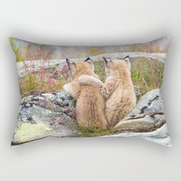 Lynx kittens - sister love Rectangular Pillow