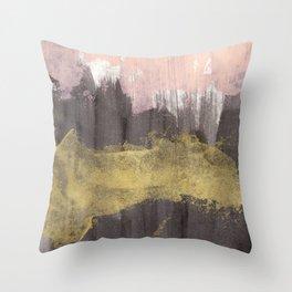 Black / Pink / Gold Throw Pillow