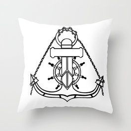 Anchor and Steering Helm [Outline] Throw Pillow