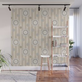 Mod Flowers and Stripes in Beige and Gray Wall Mural