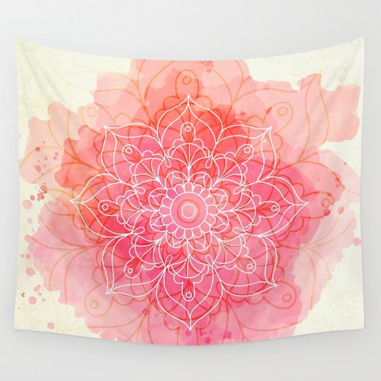 Pink Wall Tapestry pink watercolor mandala #lifestyle #society6 wall tapestrywild