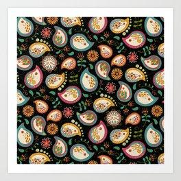 Hedgehog Paisley_Party Colors Art Print