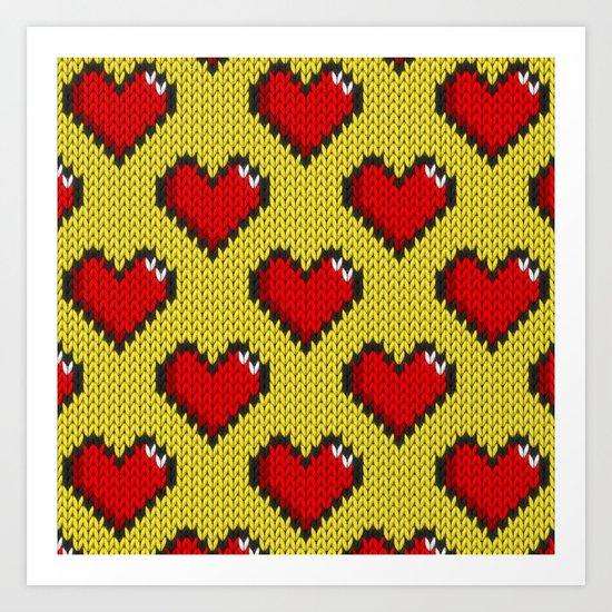 Knitted heart pattern - yellow Art Print