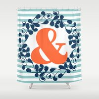 ampersand Shower Curtains featuring ampersand by ArigigiPixel