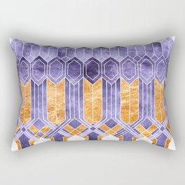 Turtle Shell Geometric | Art Deco | Purple & Gold Rectangular Pillow