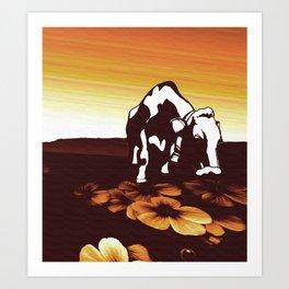 Sunset Graze Art Print