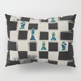 Chessboard and Marble Chess Pieces composition Pillow Sham